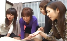 Four horny Japanese sluts have a blast toying with asian man