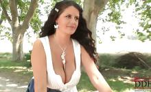 Busty brunette Rebecca Jessop rides a bike in the forest as she finds a place to set her big tits free & inserts a vibrator in her pussy! The smiling young babe is always happy when she gets down on some outdoor action, so she cums easily as her shaved