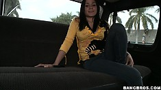 An attractive Latina girl wanting to have a good time joins the guys in the van