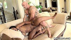 The ebony hottie relishes every second of that hot pussy drilling action on the sofa
