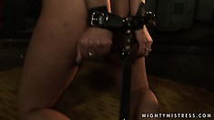 Gorgeous blonde slave gets her nipples pinched by her mistress