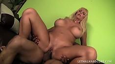 Cougar Karen Fisher rides on his cock frontward and backward, and sucks