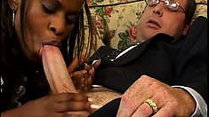 Slutty black maid slurps on the bosses white meat and gets nailed