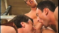 Gay cowboys with hot muscled bodies having dirty threesome fun at the barn