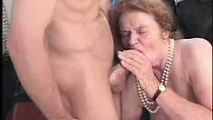 She blows him again, puts in her teeth, gets fucked and he cums on her tits