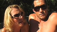 Young brunette coed gets wined and dined by horny husband and wife