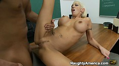 Big tit blonde Kasey Grant rides spread open and titty fucks for cum
