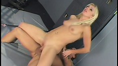 Naughty blonde boss with a sexy slim body sucks and fucks a worker's long cock