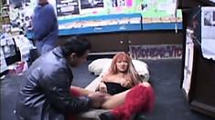 Lusty whore Patricia rides a bulging massive pecker in the car