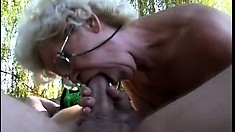 Granny gets her hairy cunt destroyed out in the woods by a big one
