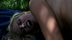 Delightful blonde is fond of riding her awesome boyfriend outdoors