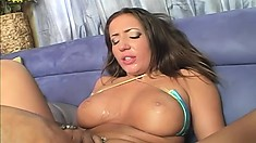 Sultry brunette offers the black stud a blowjob and takes his huge cock in her cunt