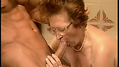 Hot granny gets her lonely cunt looked after by an eager young cock