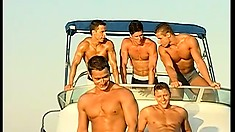 Handsome studs get wild out at sea during their sexy holiday
