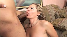 Blonde MILF Kelly gets hit with his best shot and his big black boner does some damage