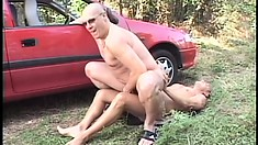 Horny old stud has a younger guy filling his mouth and his butt hole with his dick