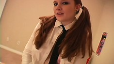 Naughty schoolgirl with big tits Halo offers her boyfriend a lap dance