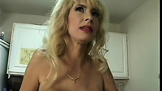 Buxom blonde mom Tara Moon sucks a big dick and gets fucked in the ass