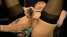 Kelle gets vibrated and machine fucked by her mistress, then her ass whipped