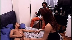 Redhead tranny with big boobs Bianca gets fucked hard by Patrick Ives