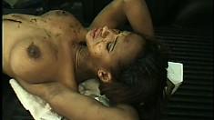 Dirty ebony slut chugs her man's thick motor oil in his garage