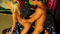 Horny blonde bitch moans like crazy while getting barebacked deep