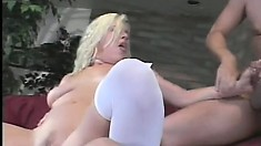 Blond slut enjoying one last double penetration before wedding