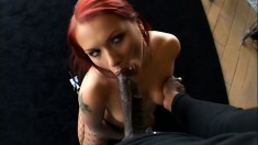 Filthy European redhead craves some black meat inside her body