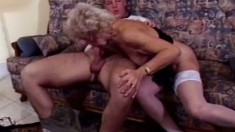 Golden Girl gets her wrinkly cunt fucked by a nice young cock