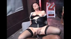 Slutty brunette cougar Lya Pink having fun with two hung black studs