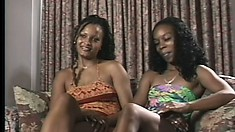 Naughty ebony lesbians fingers themselves and eat some pussy