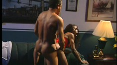 Ebony chick with a latex fetish pushes her butt onto some thick dick