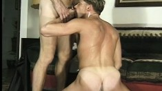 Hot college boys give each other awesome blowjobs and then fuck hard