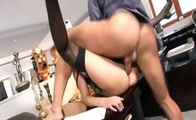 Blond secretary Donna Bell get her cunt and ass drilled by her boss